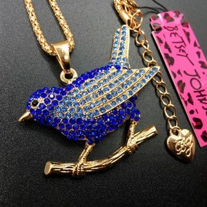 Betsey Johnson Blue Crystal Bird Necklace